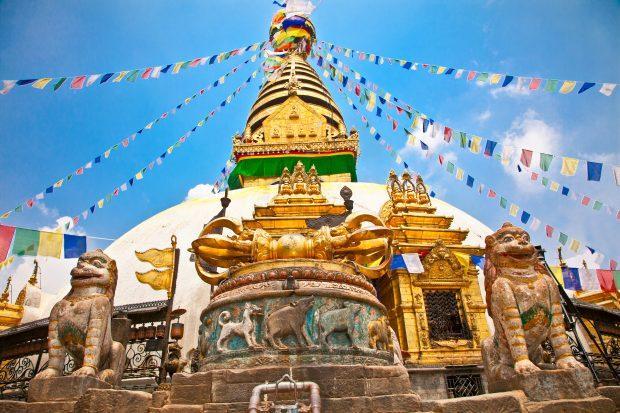 que ver en Nepal: templo de Swayambhunath, templo de los monos