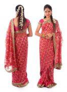 Sari hindú por delante y por detrás