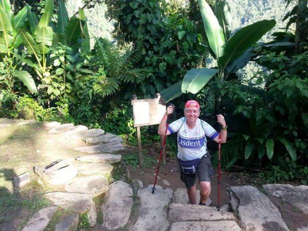Nuria subiendo a tope en su viaje a Colombia
